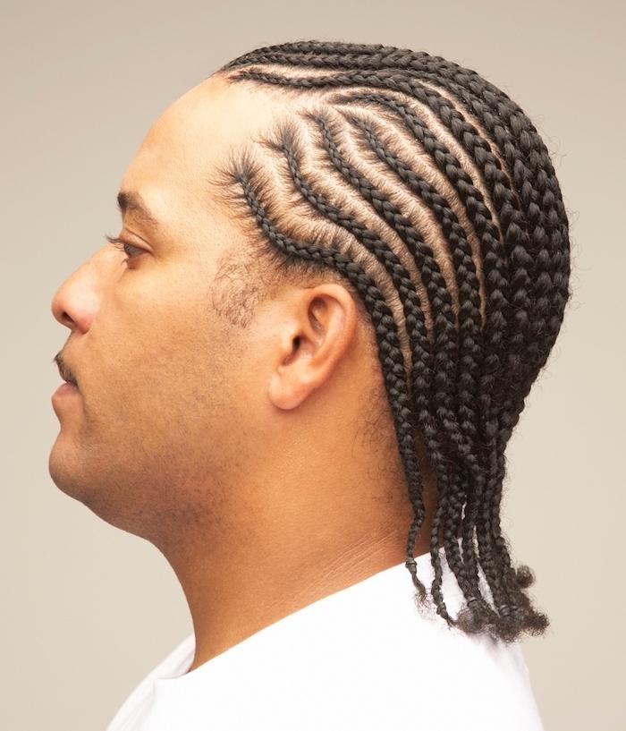 box braids men, cornrow braids, man with black hair, wearing white t shirt, white background