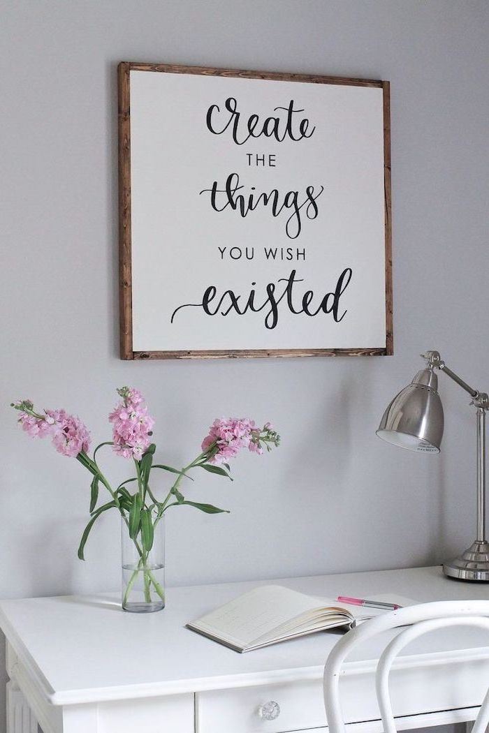office decor ideas, create the things you wish existed, white desk, pink flower bouquet, open notebook