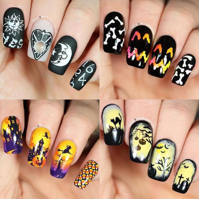photo collage, different designs, halloween nail ideas, spooky forrest, flying witches, pumpkin decorations, squoval nails