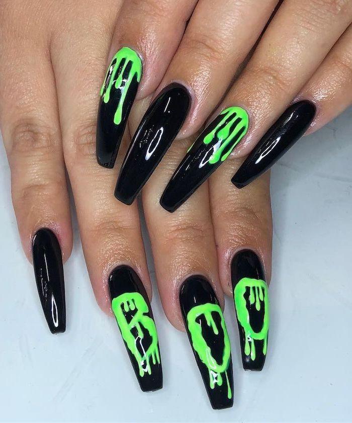 long coffin nails, black nail polish, red nails coffin, neon green nail polish, dripping down, white background