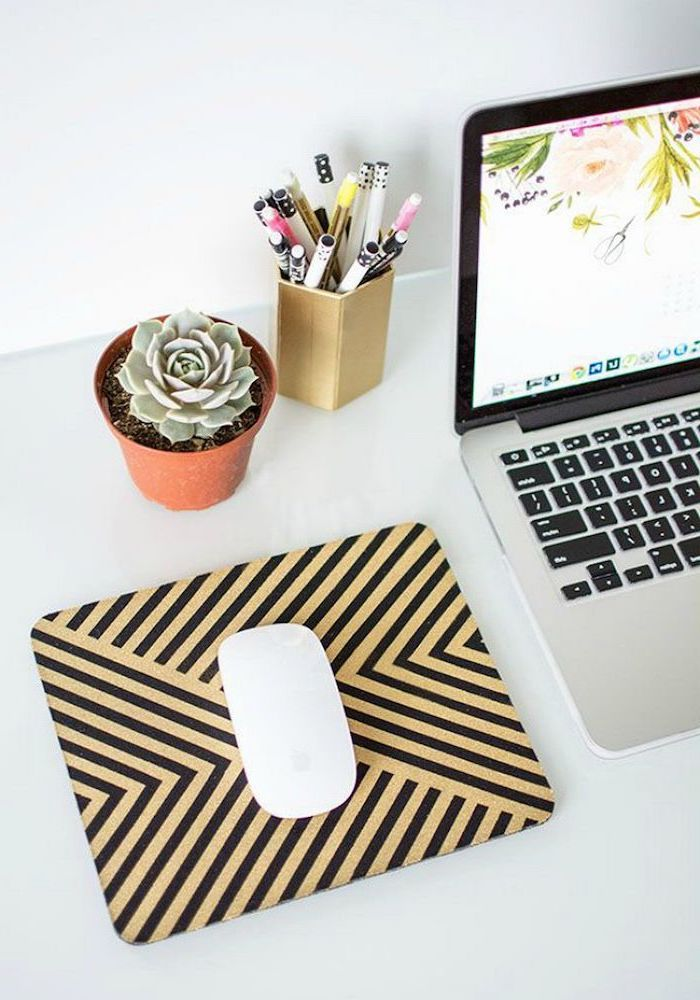 potted succulent, black and yellow, mouse pad, cubicle wallpaper, white desk, gold pencil holder