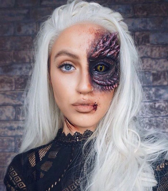 woman with platinum blonde hair, daenerys targaryen, drogon make up, halloween costume ideas, black lace top