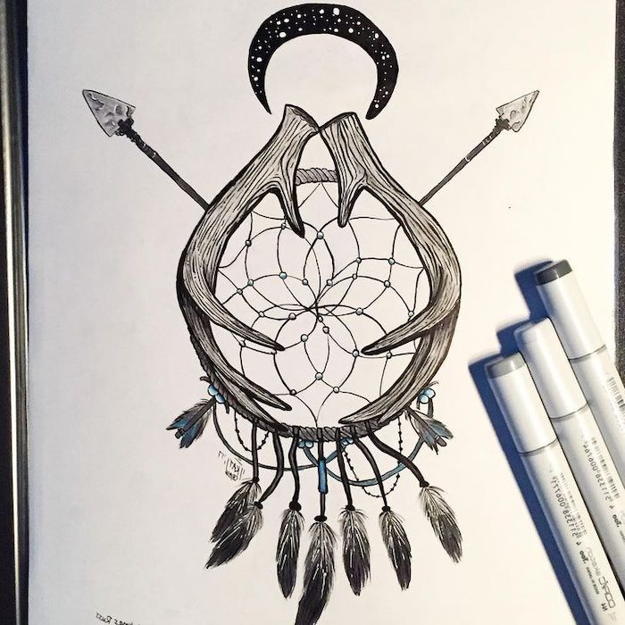 dreamcatcher drawing, with deer horns, crescent moon, two arrows, on white paper, dreamcatcher meaning