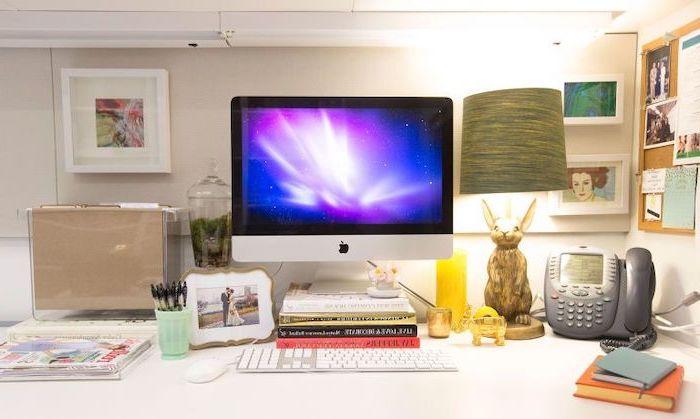 desktop computer, mens office decor, framed art, acrylic desk organiser, bunny lamp, framed photo
