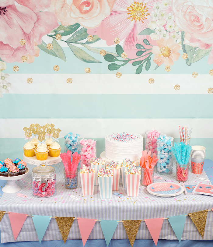 gender reveal ideas, dessert table, with cake and cupcakes, sweet popcorn, different candies