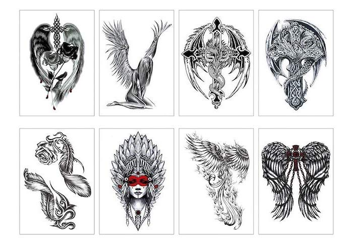 different styles, angel and demon tattoo, black and white sketches, white background