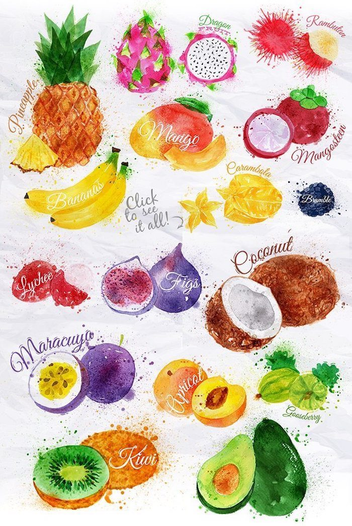 different fruits, turn photo into line drawing online free, colorful drawing, white background