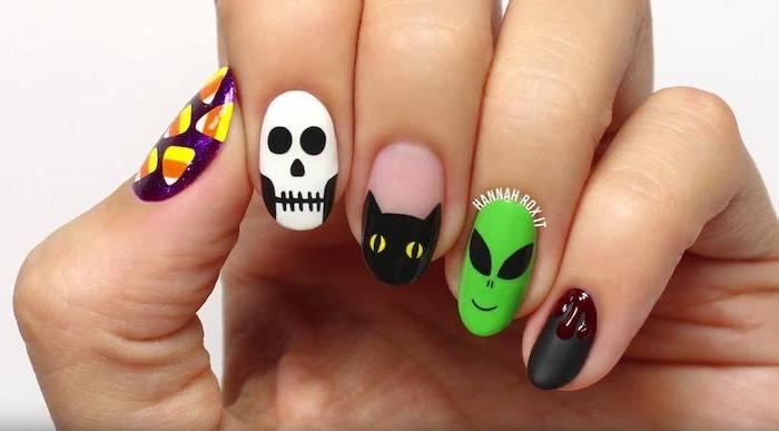 different decorations, on each nail, halloween nail ideas, candy corn, skeleton and cat, alien and candy corn