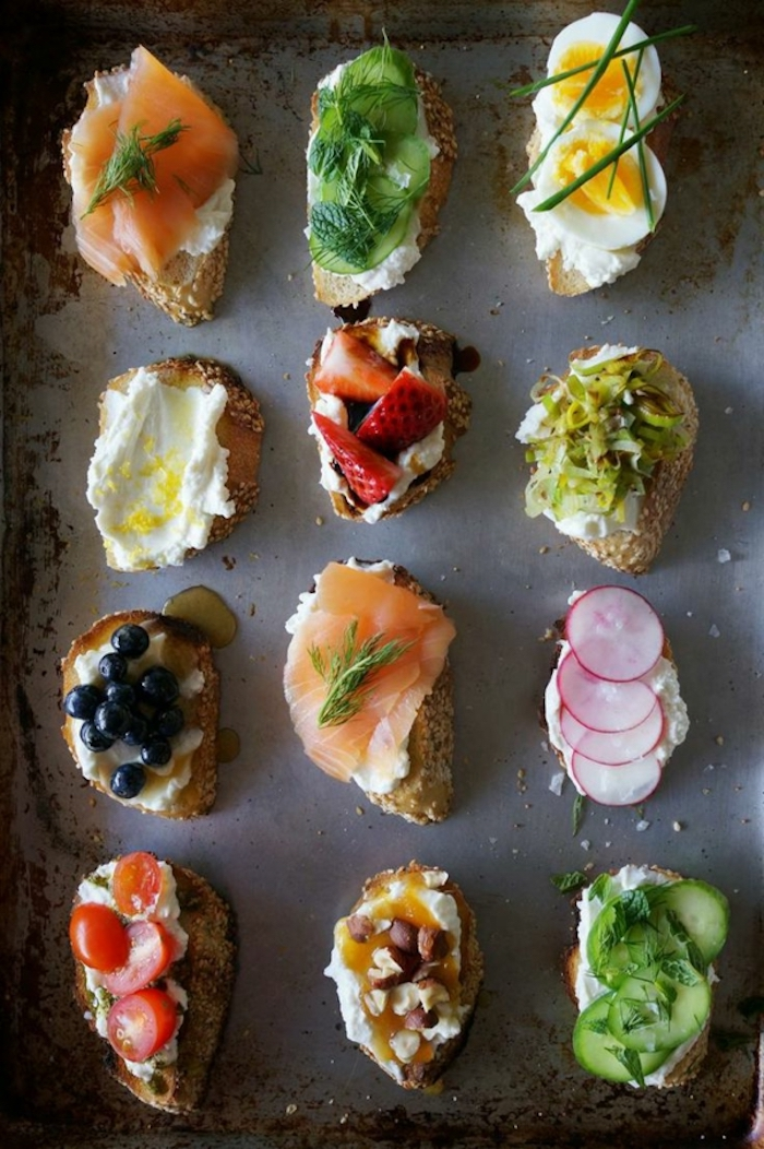 bruschetta toasts, brunch menu ideas, different garnish, salmon and chives, cherry tomatoes