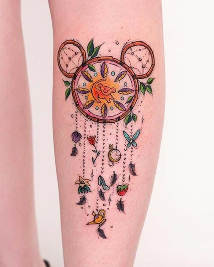 disney inspired, mickey mouse, lion king, small dreamcatcher tattoo, forearm tattoo, white background