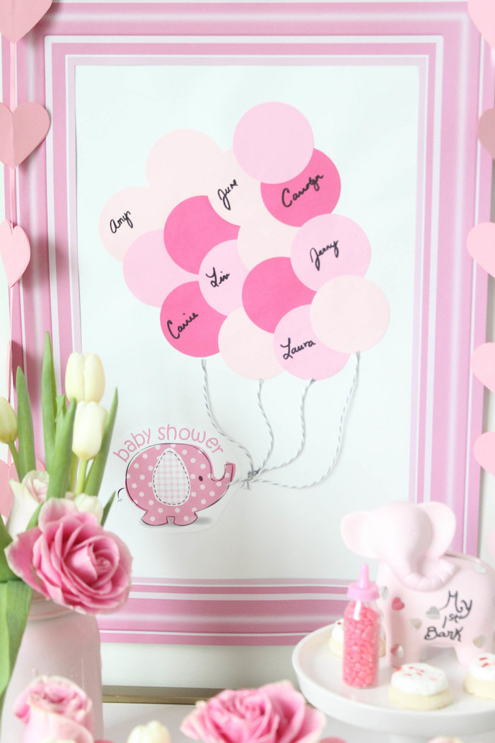 name guessing, fun game, girl baby shower, pink paper balloons, inside a pink frame, tulips bouquet