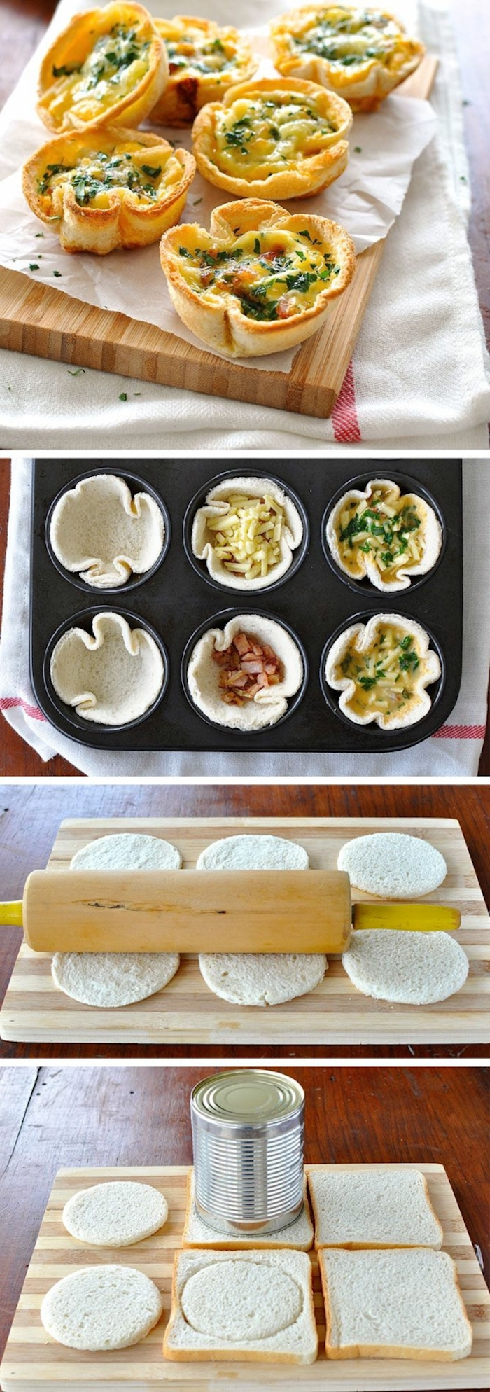 bread muffins, step by step, diy tutorial, easy brunch recipes, photo collage