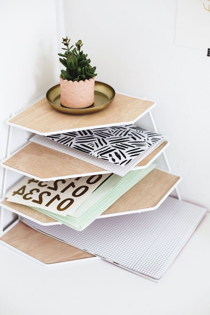 wooden desk organiser, step by step, diy tutorial, white desk, potted succulents, lots of notebooks