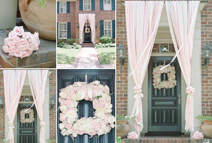 dinosaur baby shower, door decoration, roses floral wreath, pink tulle, hanging over the door