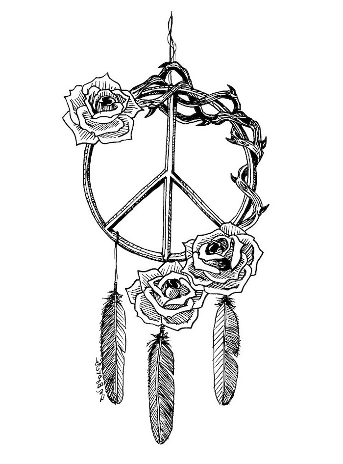 black and white drawing, small dreamcatcher tattoo, three roses, peace sign, white background