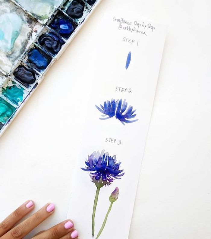 how to draw a flower, drawing pictures, step by step, diy tutorial, shades of blue