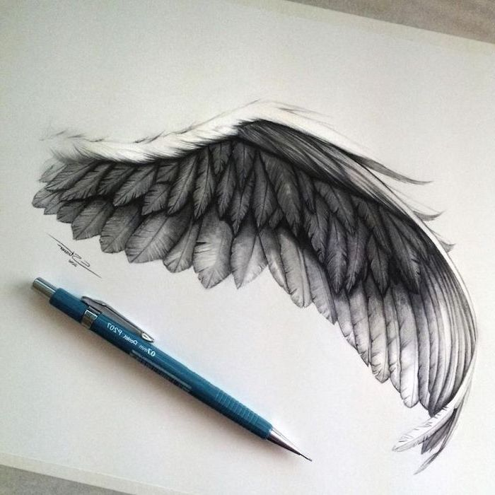angel wing, black and white, pencil sketch, angel and demon tattoo, white background