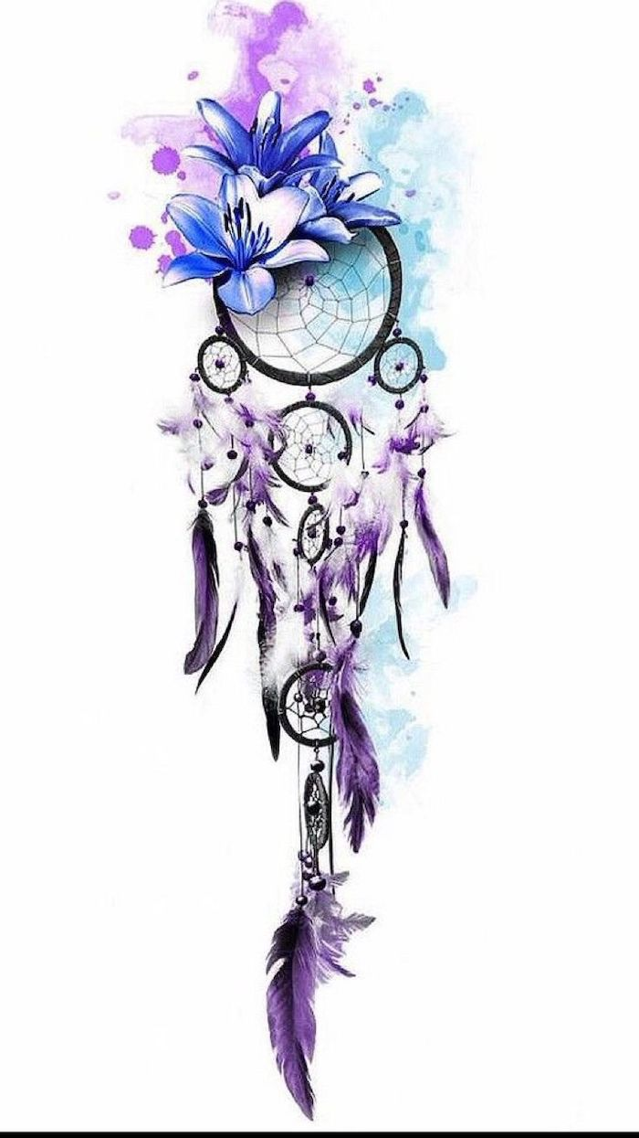 watercolor drawing, dream catcher tattoo on thigh, purple pink and blue colors, white background