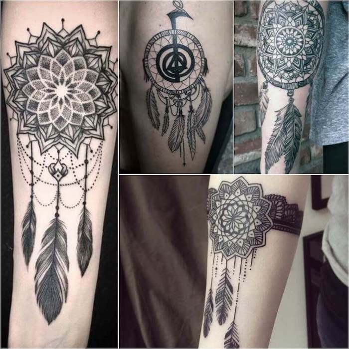 photo collage, different tattoos, wolf dreamcatcher tattoo, forearm tattoos