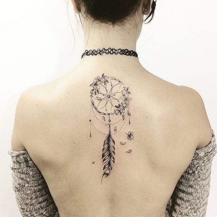 back tattoo, floral dreamcatcher, woman wearing a grey cardigan, black choker, wolf dreamcatcher tattoo