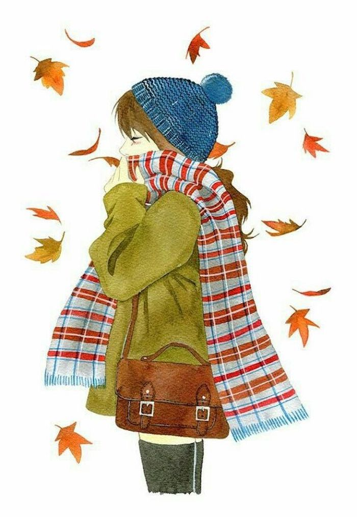 fall leaves, drawing outlines, girl with blue beanie, green coat, colorful scarf, white background