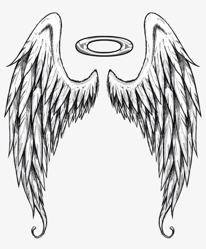 black and white, pencil sketch, angel wings and a halo, angel and demon tattoo, white background