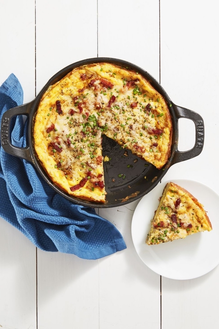 baked casserole, eggs and bacon, best brunch recipes, blue cloth, white wooden table