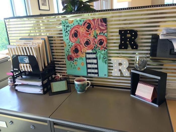 black desk, floral art, black metal desk organiser, mens office decor, coffee mug, white gold, striped wallpaper