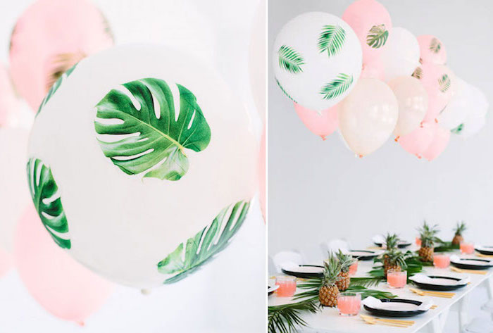 floral theme, dinosaur baby shower, pink and white balloons, table runner, made of palm leaves and pineapples