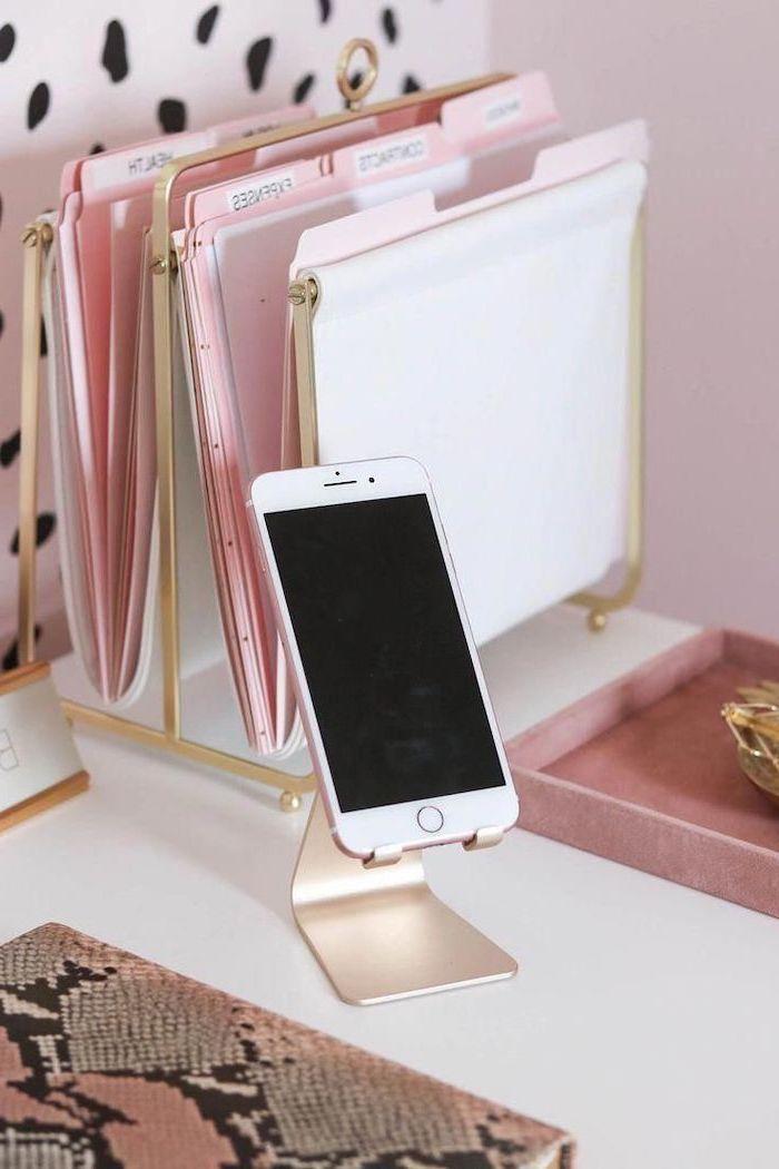 gold metal, folder holder, rose gold, phone stand, office desk decor, white desk, pink wallpaper