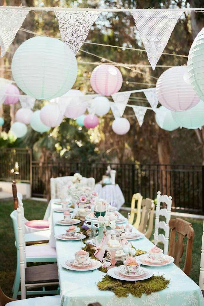 garden party, mad hatter tea party, inspired by alice in wonderland, baby shower decorations, pink and blue decorations