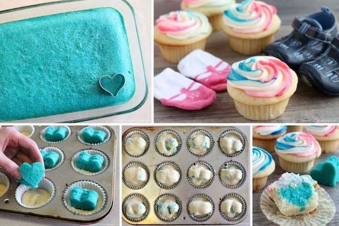 small cupcakes, colorful frosting, blue hearts inside, gender reveal party ideas, step by step, diy tutorial