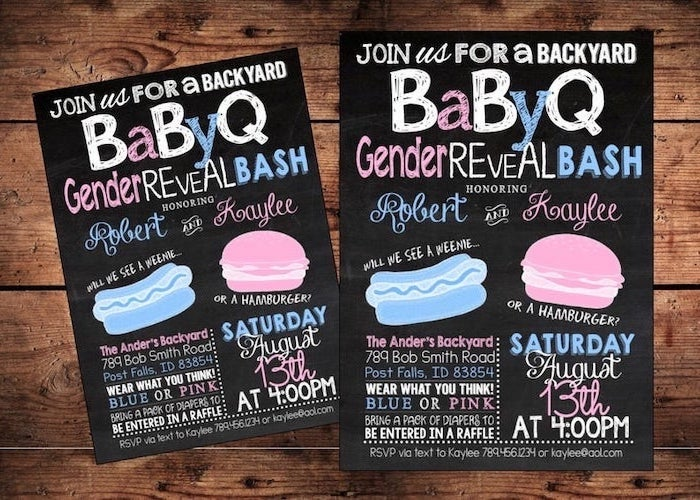 babyq invitations, gender reveal box, wooden background, pink and blue letters