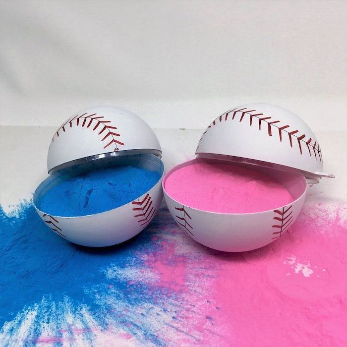 two plastic baseballs, gender reveal box, filled with pink and blue powder