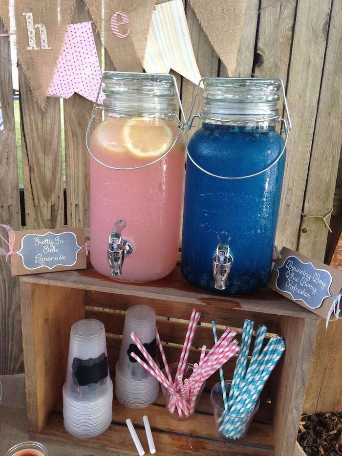 rustic decor, gender reveal box, blue and pink lemonade, wooden crates, paper straws
