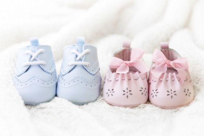 blue and pink, baby shoes, on a white blanket, gender reveal balloons