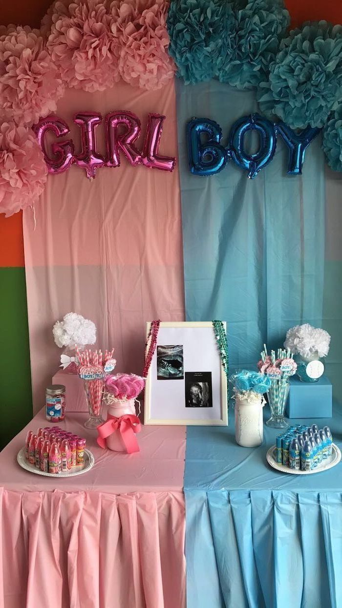 pink girl balloons, blue boy balloons, pink and blue tulle, gender reveal gifts, dessert table