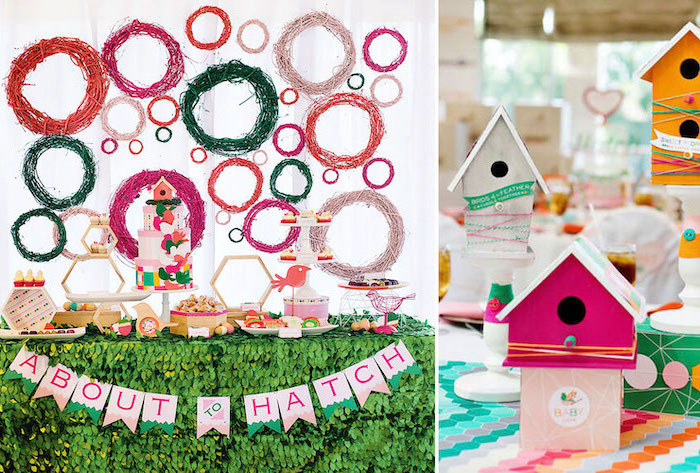 about to hatch, colorful decor, dinosaur baby shower, dessert table, little birds theme, bird houses
