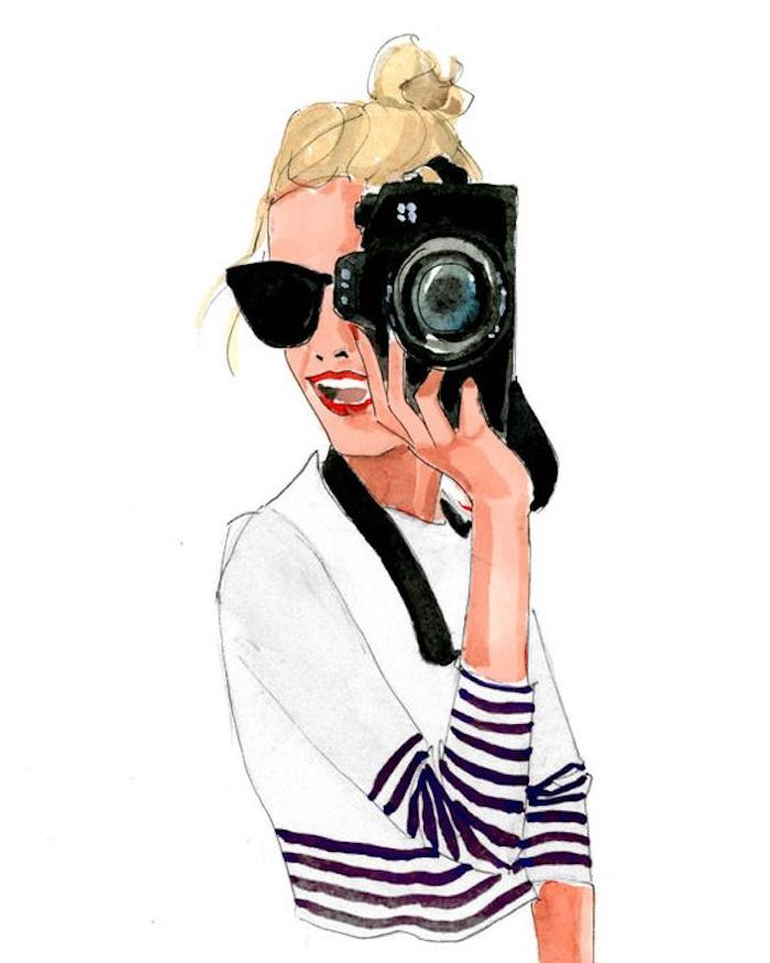 girl holding a camera, wearing a white blouse, drawing outlines, black sunglasses, blonde hair