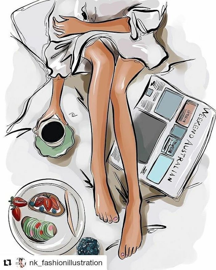 girl in bed, drawing outlines, newspaper and coffee, breakfast on a plate