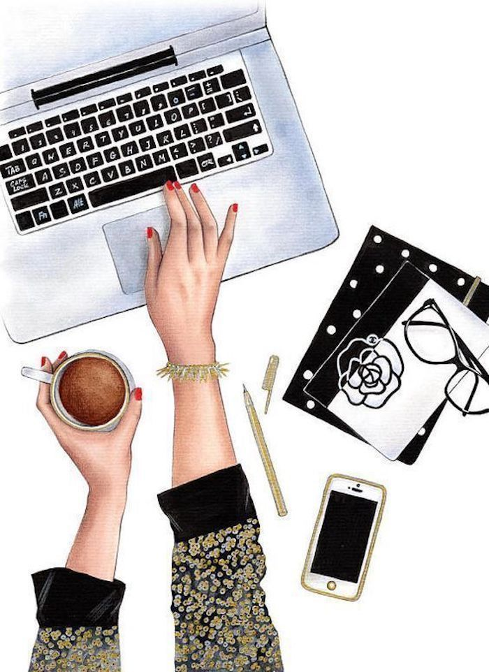 girl typing on a laptop, image trace, coffee cup, two notebooks, phone and glasses