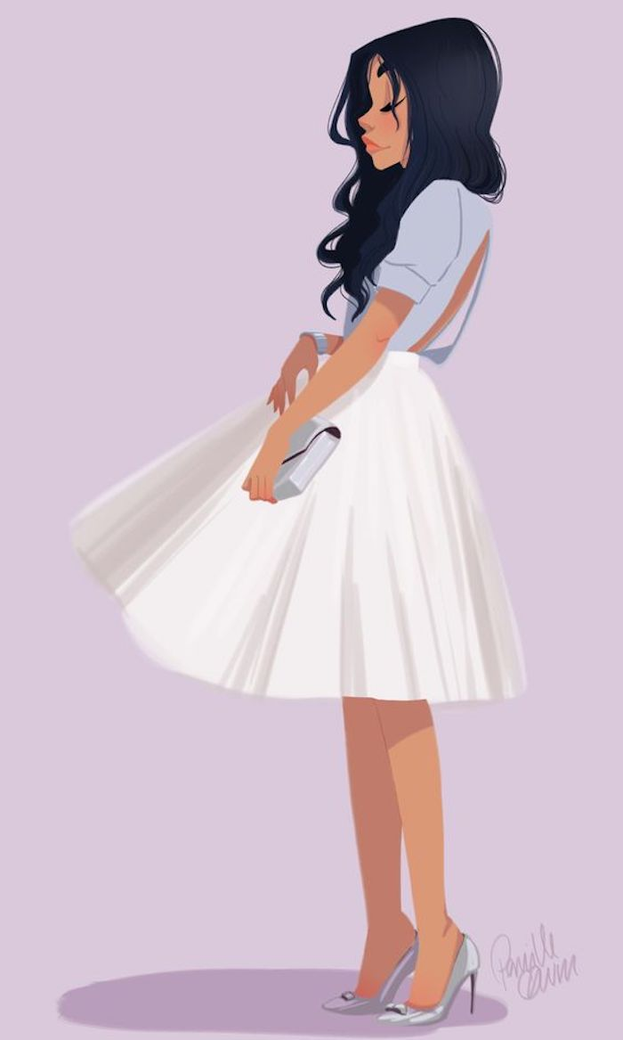 image trace, pink background, girl with black hair, wearing blue shirt, white skirt, grey heels