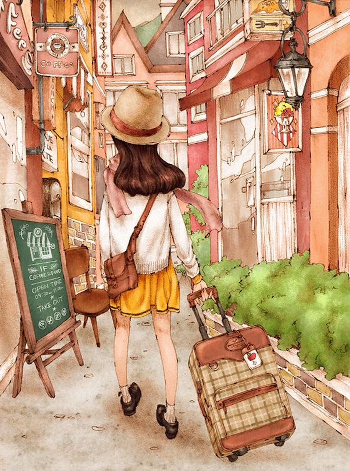 girl walking down a street, carrying a suitcase, image trace, wearing yellow skirt, white sweater
