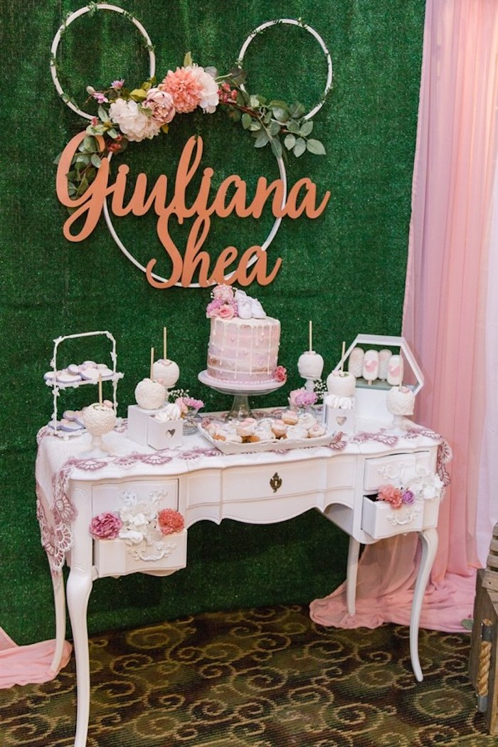 when to have a baby shower, giuliana shea, dessert table, floral wreaths, cake and cupcakes, cake pops