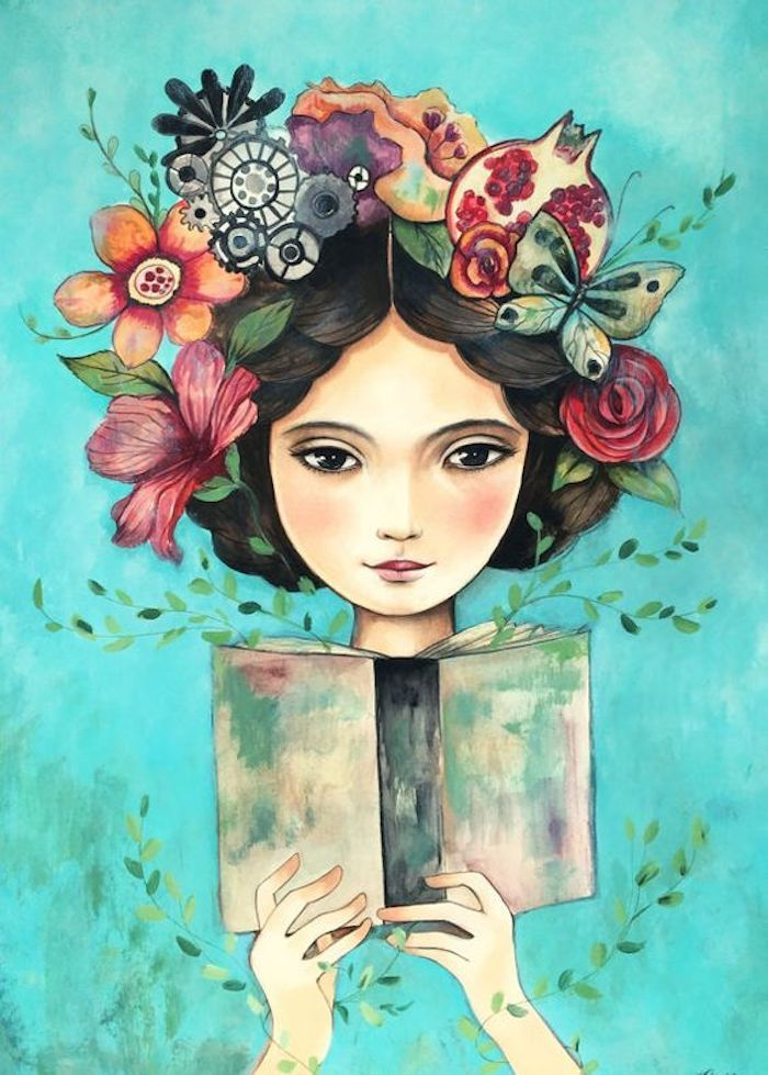 green background, image trace, head crown, made of flowers and fruits, girl reading a book