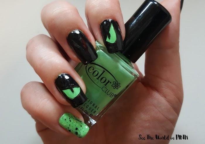 green nail polish bottle, black nail polish, red nails coffin, green eyes decoration, squoval nails