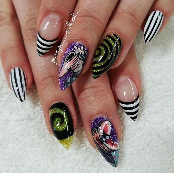 black and white stripes, yellow glitter and black circles, purple glitter nail polish, red nails coffin, stiletto nails