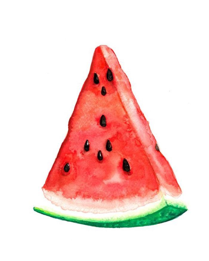 watermelon slice, red and green paint, white background, turn photo into line drawing online free