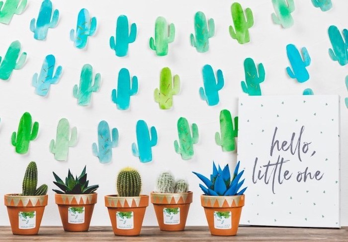 potted cactuses, paper cactuses garlands, when to have a baby shower, hello little one