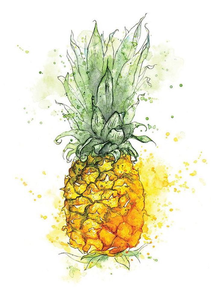 drawing of a pineapple, green and yellow paint, turn photo into line drawing online free, white background